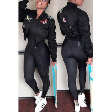 Trendy Long Sleeves Embroidered Design Black Blending Short Coat