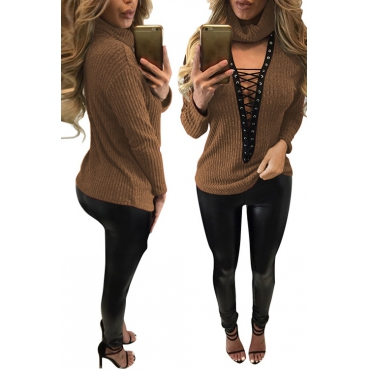 Sexy Deep V Neck Hollow-out Brown Knitting Sweaters