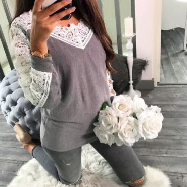 Leisure Long Sleeves Lace Trim Patchwork Grey Cotton Tops