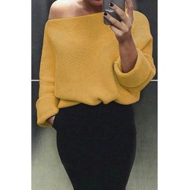 Euramerican Round Neck Long Sleeves Yellow Acrylic Sweaters