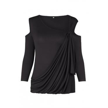 Maniche lunghe a spalla sexy della rugiada-fuori camicie in cotone nero