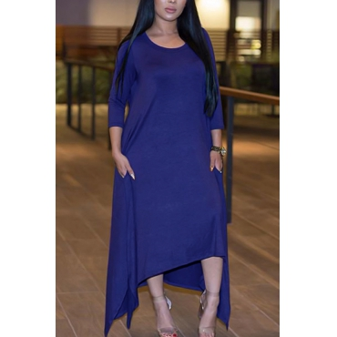 Leisure Round Neck Half Sleeve Asymmetrical Royalblue Polyester Ankle Length Dress