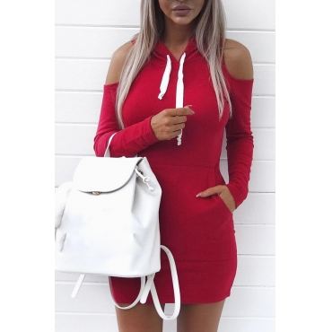 Leisure Hooded Collar Long Sleeves Hollow-out Wine Red Cotton Sheath Mini Dress