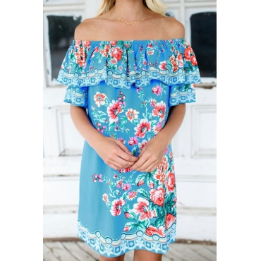 Era Of Floral Blue Mini Dress(Non Positioning Printing)
