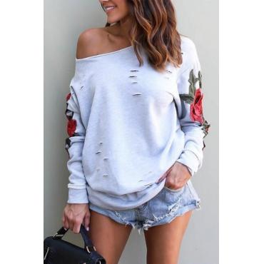 Leisure Dew Shoulder Embroidered Design Grey Cotton Pullovers