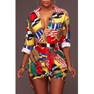 Collar de moda en la espalda Impreso Mini Vestido de tela sana (sin cinturón)