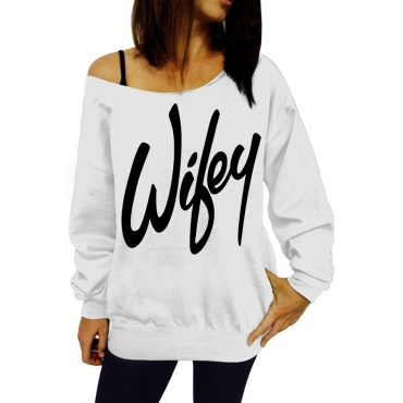 Trendy Dew Shoulder Letters Printed White Cotton Blends Pullovers
