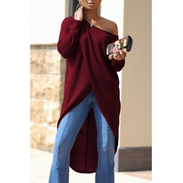 Leisure Dew Shoulder Long Sleeves Asymmetrical Wine Red Cotton Shirts