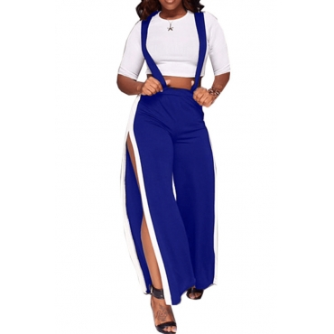 Trendy High Waist Patchwork Hollow-out Blue Polyester Pants