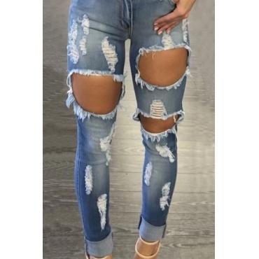 Euramerican Hohe Taille Gebrochene Löcher Blaue Jeans