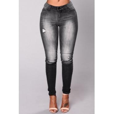 Stylish Mid Waist Broken Holes Black Denim Pants