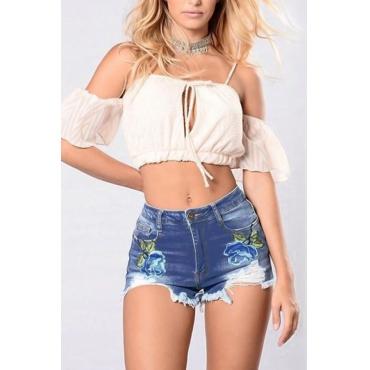 Stylish Mid Waist Zipper Design Blue Denim Shorts