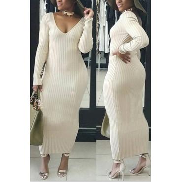 Stylish V Neck White Cotton Blend Sheath Mid Calf Dress