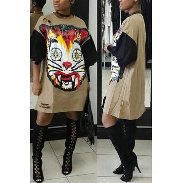 Leisure Printed Broken Holes Khaki Polyester Knee Length Dress