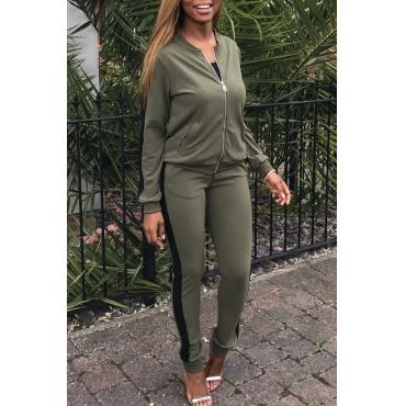 Leisure Round Neck Zipper Design Green Blending Two-piece Pants Set
