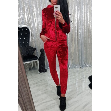 Red Velvet Pants Plain Turndown Collar Long Sleeve Casual Two Pieces
