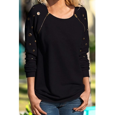 Lovely Leisure Round Neck Zipper Design Black Blending Pullovers