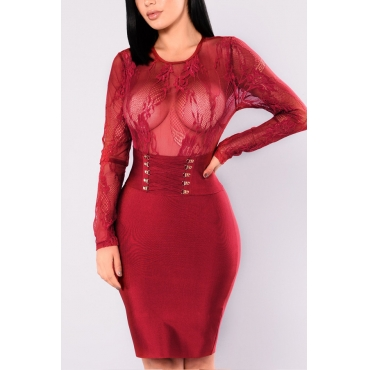 Healthy Fabric Sexy O neck Cap Sleeve Long Sleeve Sheath Knee Length Dresses