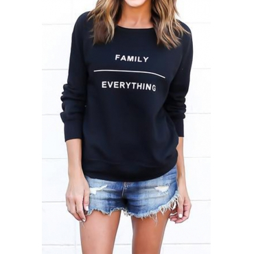 Lovely Casual Long Sleeves Letters Printed Black Blending Pullovers