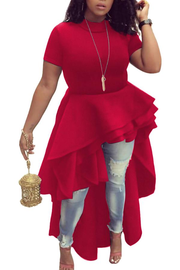 Stylish Mandarin Collar Asymmetrical Falbala Design Red Polyester Mid Calf Dress Dresses <br><br>