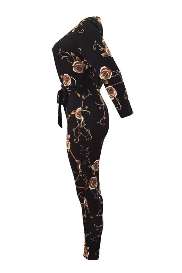 Мода V шеи Цветочный Принт черный полиэстер цельный комбинезон