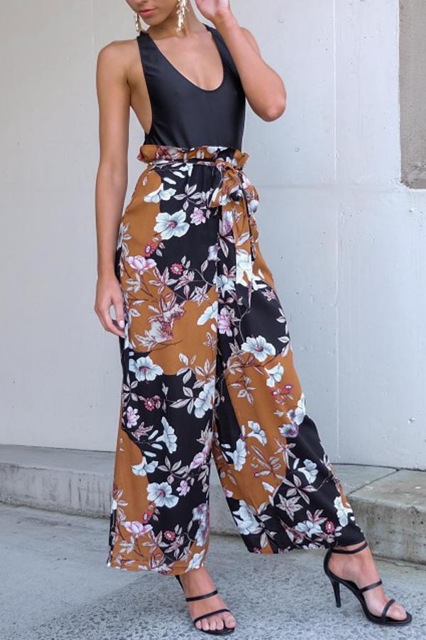 Fashion Elastic Waist Floral Print Polyester Pants