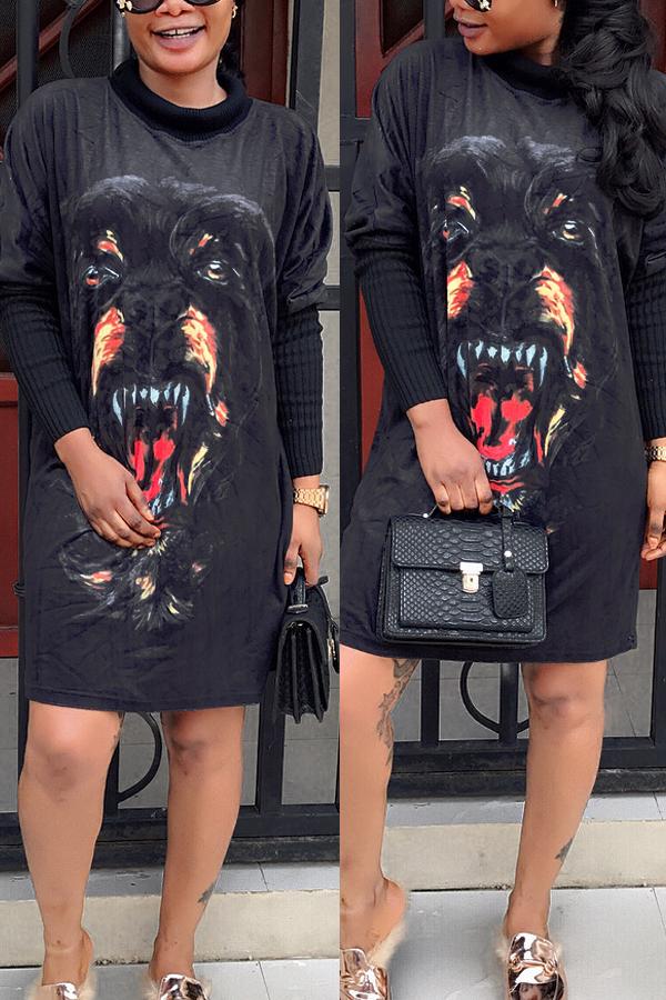 Casual O Neck Long Sleeves Printed Black Velvet Mini Dress