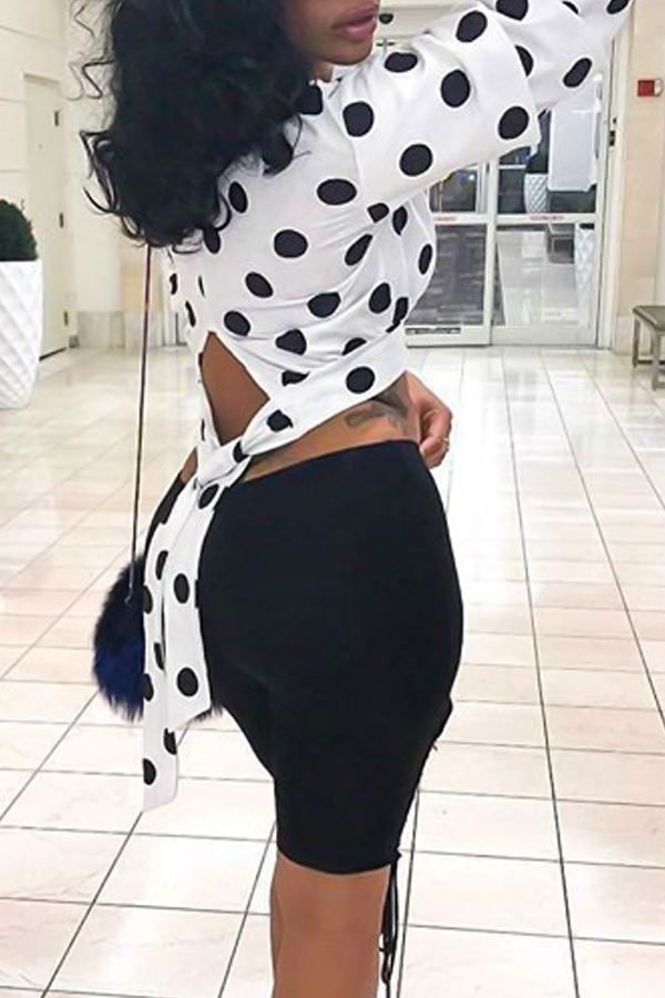 Trendy Round Neck Dots Printed Hollow-out White Polyester Shirts<br>