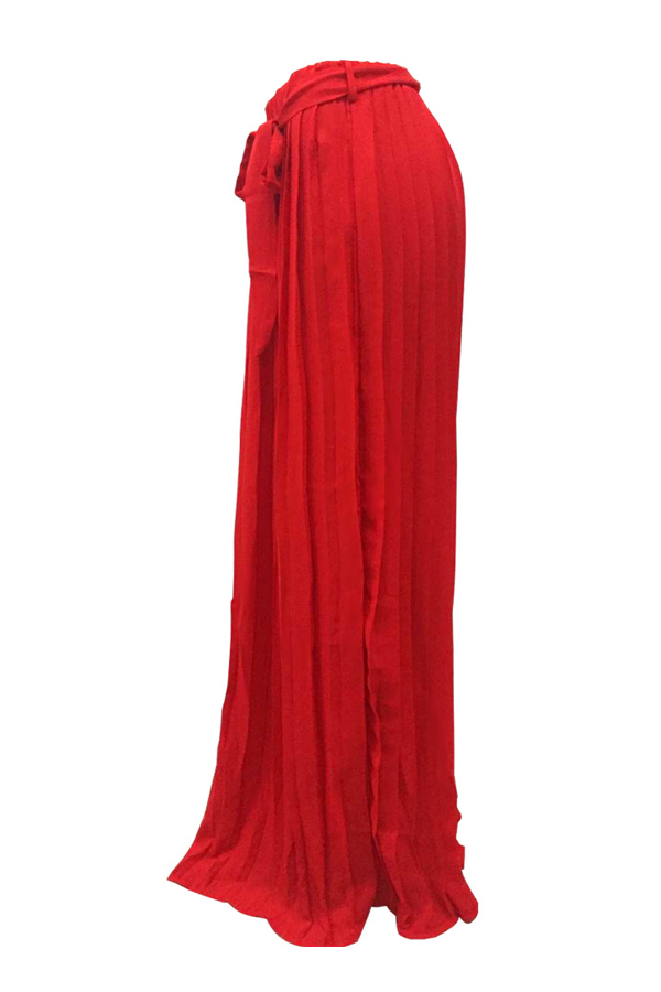 Trendy High Waist Red Polyester Pleated Skirts