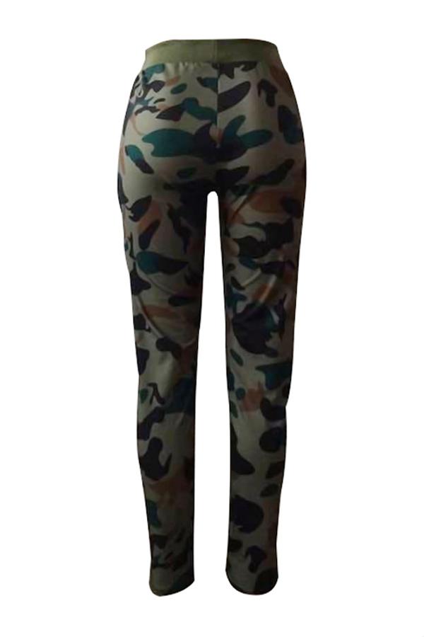 Camisola De Cintura Elástica De Lazer E Camuflagem Exército Impresso Calças Verdes