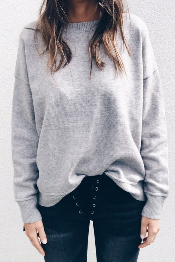 Trendy Round Neck Lace-up Grey Polyester Pullovers