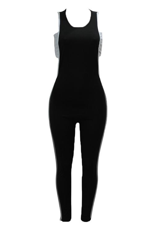 Sexy Hollow-out algodón negro de dos piezas conjunto de pantalones