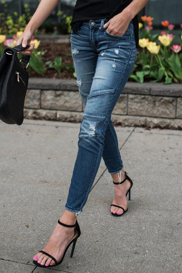 Euramerican Patchwork Blue Denim Pants