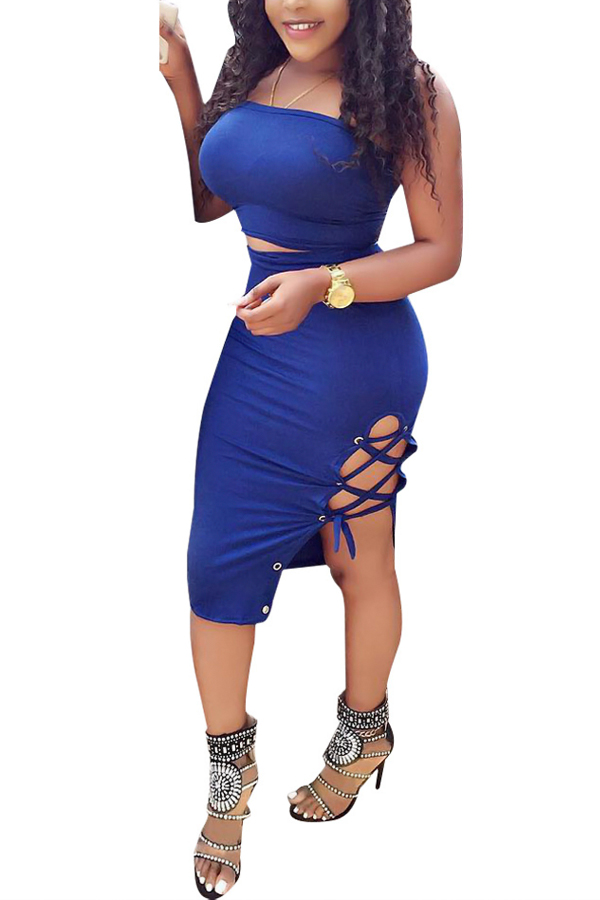 Sexy Dew Shoulder Lace-up Hollow-out Blue Milk Fiber Conjunto de saia de duas peças