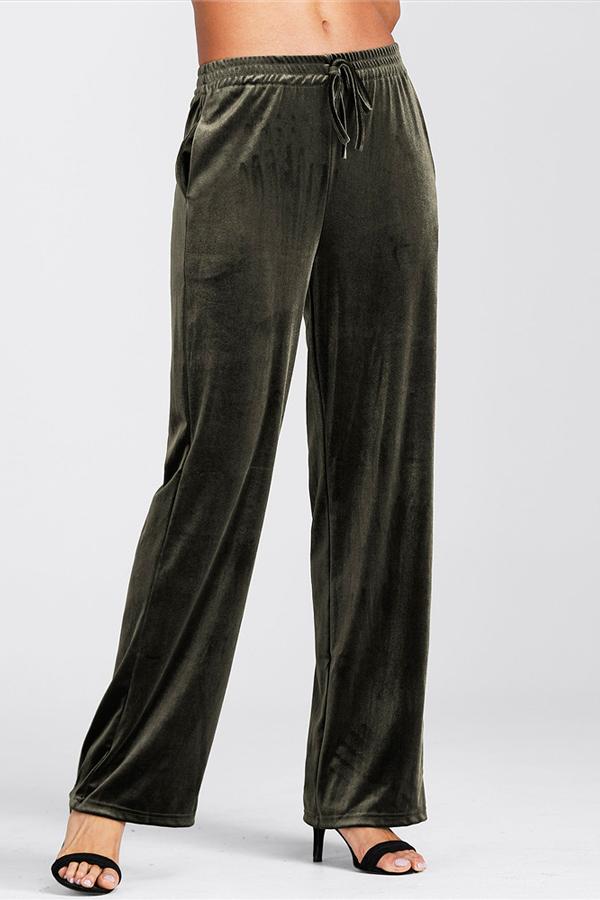 Pantaloni Pleuche Verde Euramerican Elastico Vita Esercito