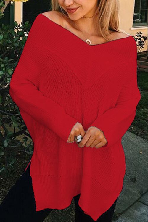 Leisure V Neck Long Sleeves Side Split Red Cotton Shirts