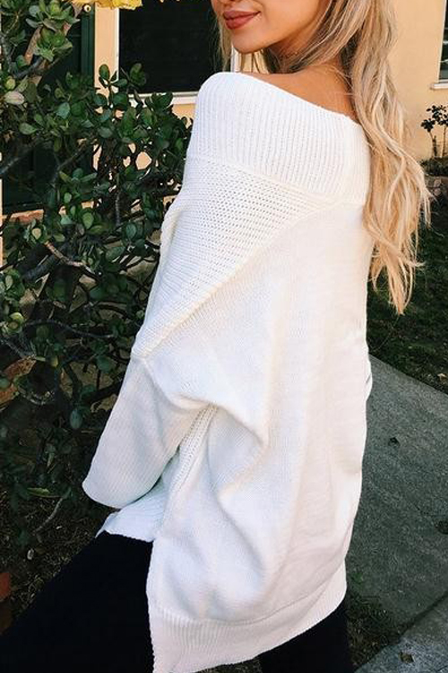 Leisure V Neck Long Sleeves Side Split White Cotton Shirts