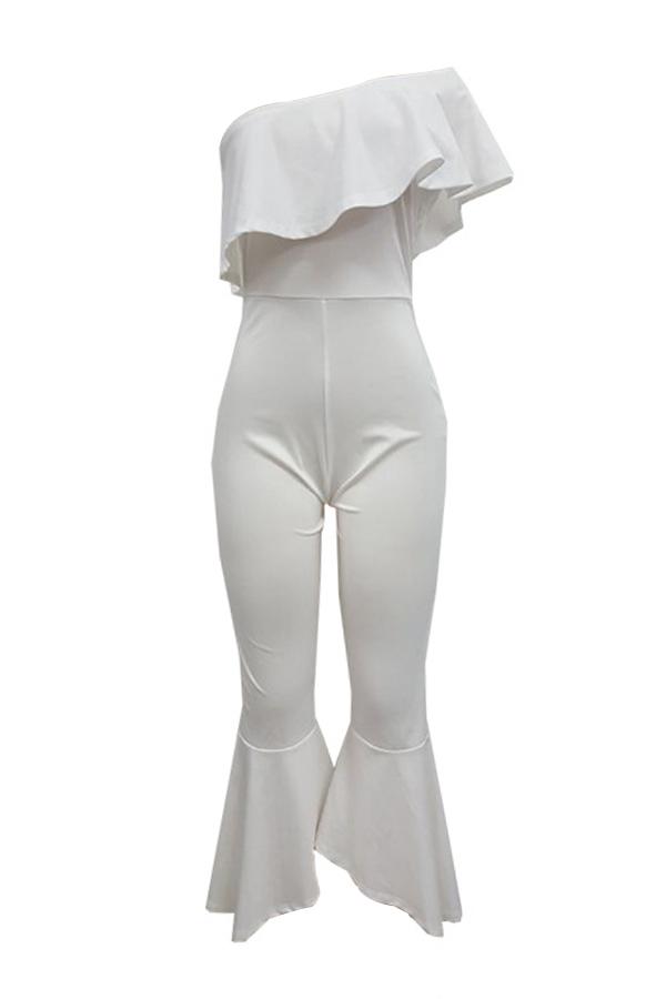 Tronco d'oro trendy Design Falbala Design poliestere bianco un pezzo Jumpsuits