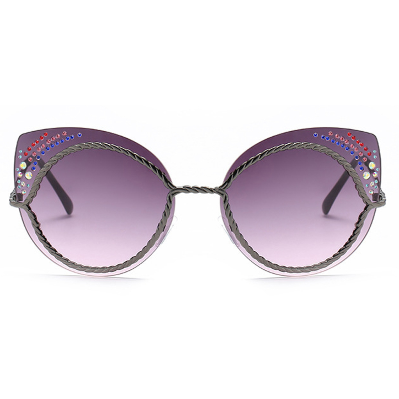 Euramerican Rhinestone Decorative Gray Plastic Plastic Eyeglasses