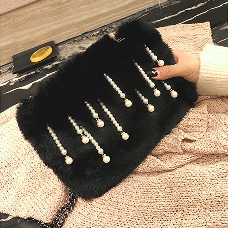 Mode Perle dekorative schwarze Polyester Kupplungen Taschen
