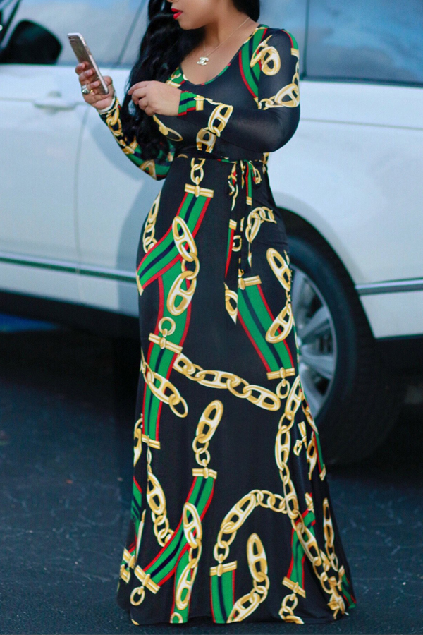Corrente De Pescoço Redondo À Moda Impresso Vestido De Vestido De Tecido Saudável De Tornozelo
