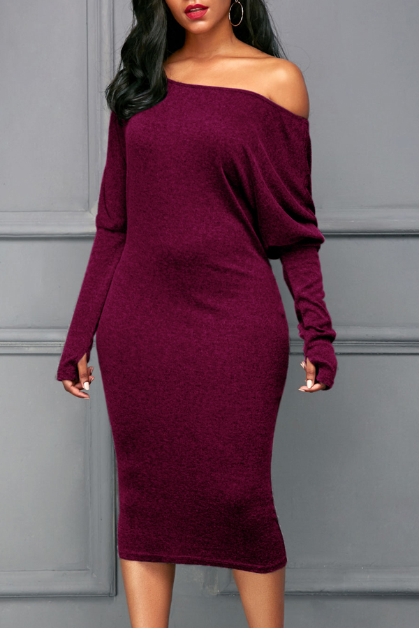 Euramerican Dew Shoulder Wine Red Algodão Blend Sheath Mid Meia Vitela Vestido