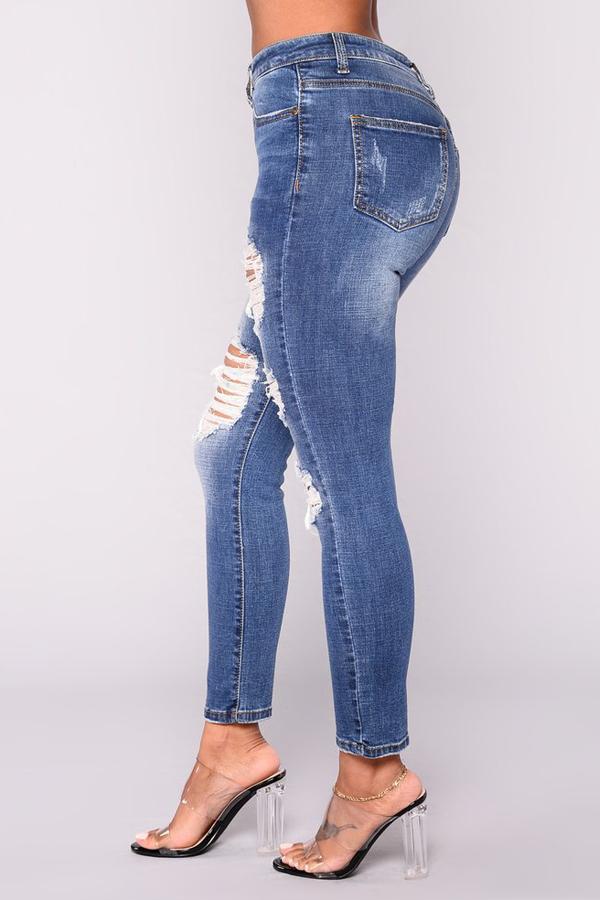 Trendy High Waist Broken Holes Dark Blue Denim Pants