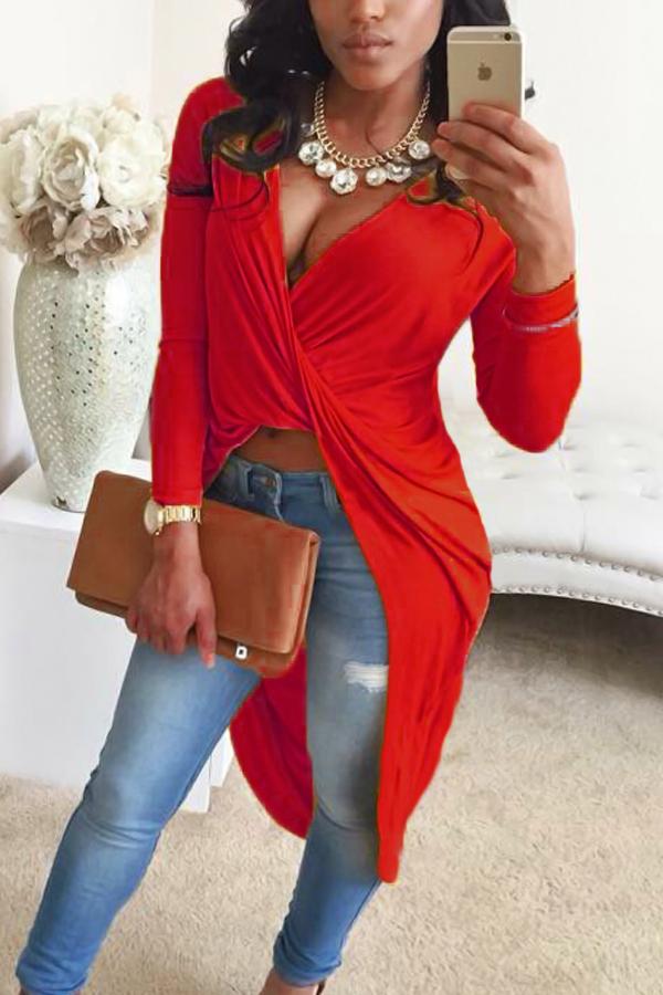 Camisas de mezcla rojas asimétricas con cuello en V sexy
