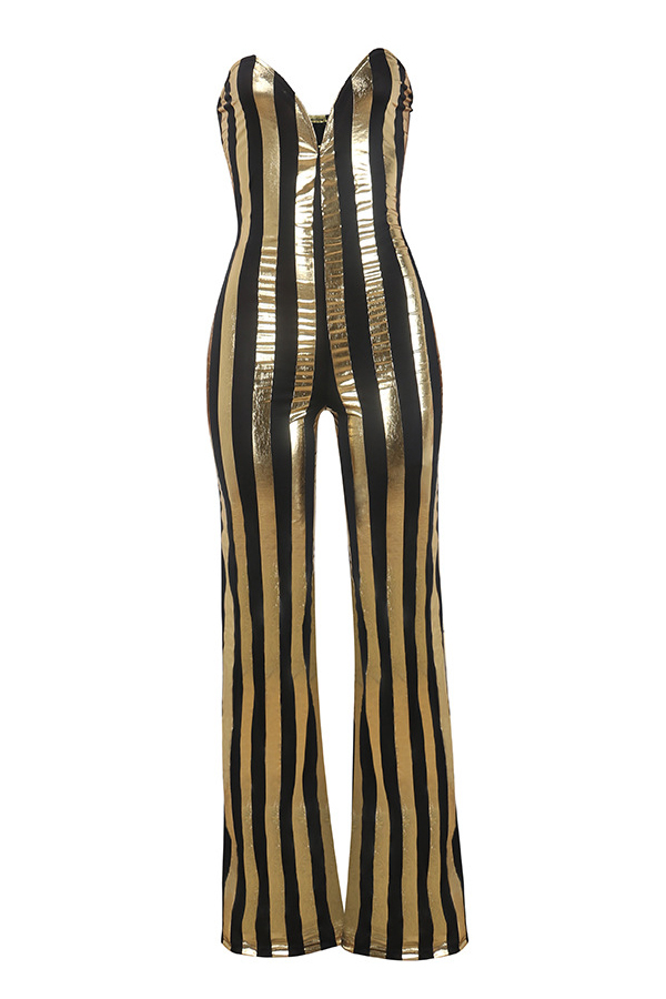Sexy Dew Shoulder Striped Black-gold Polyester One-piece Jumpsuits