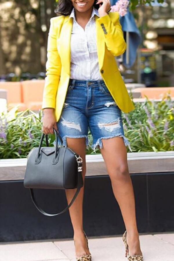 Stylish Turndown Collar Single Button Yellow Polyester Blazer<br>