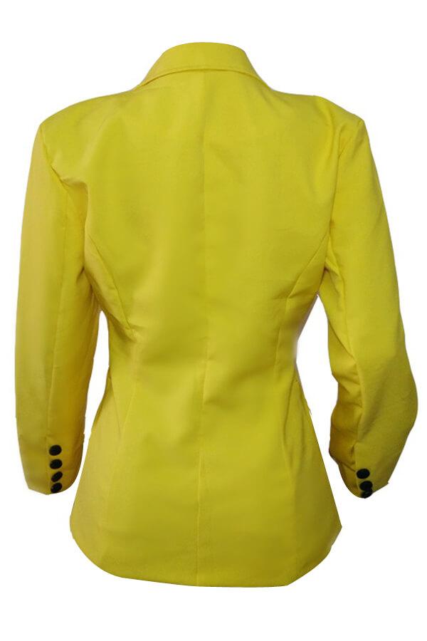 Lovely Stylish Turndown Collar Single Button Yellow Blazer
