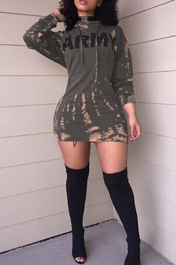 LovelyLeisure Round Neck Long Sleeves Printed Sheath Mini Dress