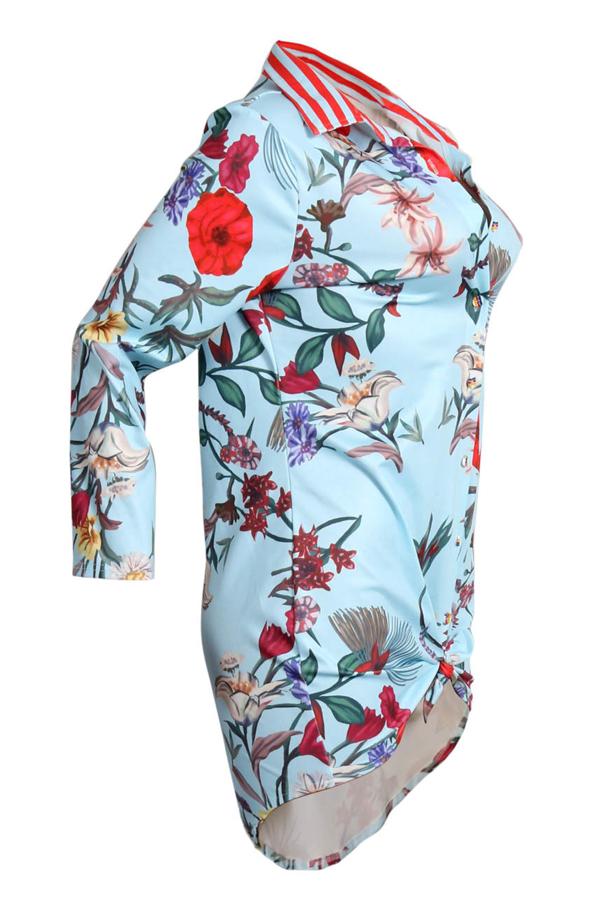 Trendy Turndown Collar Printed Light Blue Mini tecido de tecido saudável (sem cinto)