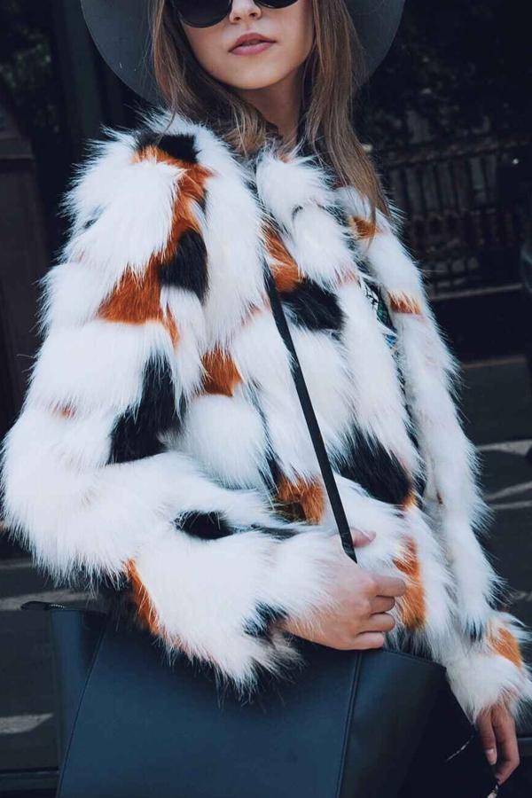 Euramerican V Neck Fur Design Coat